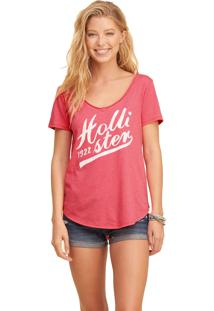 Camiseta Manga Curta Hollister Gráfica Rosa