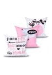 Kit Capas Almofadas Decorativas Para Cama Rosa Estampada Kit Com 3 Unidades 45Cm X 45Cm Com Zíper