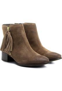 Bota Couro Cano Curto Shoestock Barbicacho Feminino - Feminino-Caramelo