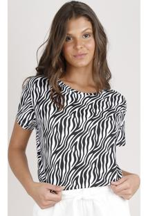 Blusa Feminina Estampada Animal Print Zebra Manga Curta Decote Redondo Off White