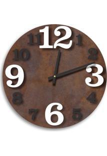 Relógio De Parede Premium Corten Com Números Em Relevo Branco E Preto Ônix 50Cm Grande