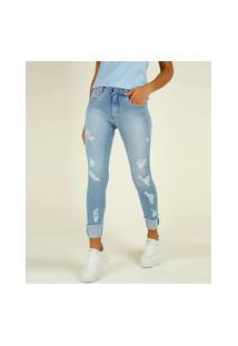 Calça Jeans Destroyed Feminina Skinny Biotipo
