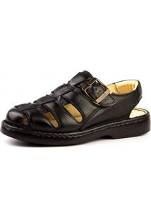 Sandália Couro Doctor Shoes 308 Transpasse Preta
