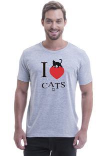 Camiseta Blast Fit Cinza I Love Cats