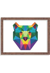 Quadro Decorativo Urso Abstrato Colorido Madeira - Médio