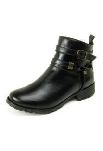 Bota Casual Dhatz Ankle Boot Com Fivela E Fecho Éclair Preto