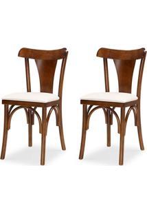 Cadeira De Jantar Paul Ricard - Kit 02 Peças - Cor Castanho - Assento Estofado Branco