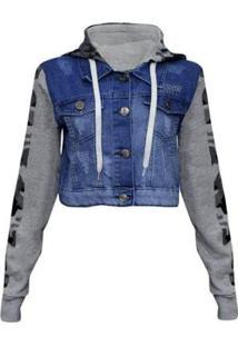 Jaqueta Traxart Jeans E Moletom Feminina - Feminino-Azul