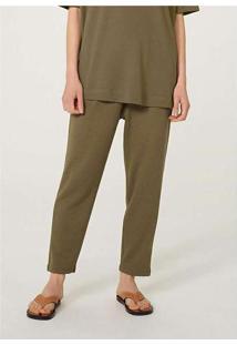 Calça Básica Feminina Em Malha Texturizada Verde