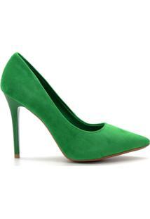 Scarpin Royalz Nobuck Salto Alto Fino - Feminino-Verde