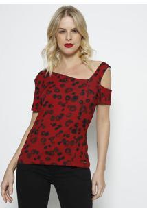 Blusa Canelada Assimã©Trica- Vermelha & Preta- Forumforum