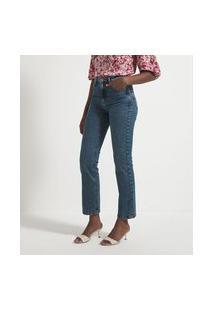 Calça Cintura Alta Reta Em Jeans Com Pesponto No Bolso