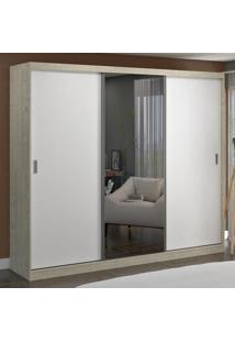 Guarda-Roupa Casal 3 Portas Com 1 Espelho 100% Mdf 1905E1 Marfim Areia/Branco - Foscarini
