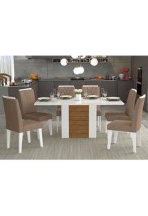 Conjunto De Mesa Rafaela 180X90Cm Com 6 Cadeiras Nicole - Cimol - Branco / Savana / Pluma