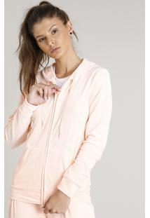 Blusão Feminino Esportivo Ace Em Plush Com Capuz Laranja Claro