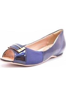 Sapatilha Comfortflex Ramarim Peep Toe Feminino - Feminino-Azul+Marinho