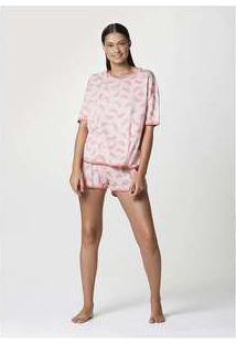 Pijama Curto Feminino Em Malha Estampada Rosa