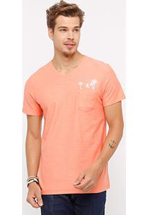 Camiseta Kohmar Bolso Coqueiro Masculina - Masculino-Laranja