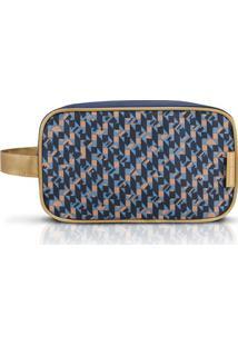 Nécessaire G Geométrica- Azul Escuro & Bege- 14X24X9Jacki Design