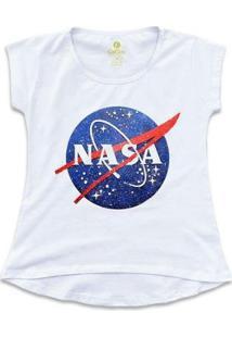 Camiseta T-Shirt Geek Cool Tees Nasa Vintage Feminina - Feminino-Branco