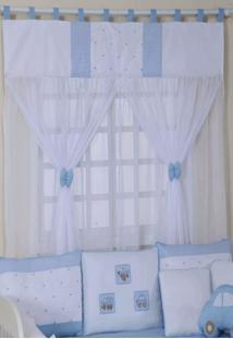 Cortina Para Quarto De Beb㪠Carrinhos Azul - Azul - Menino - Dafiti