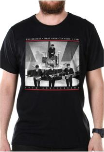 Camiseta Bandup Bandas The Beatles First American Visit 1964 Preto