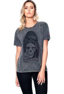 Camiseta Estonada Skull Amy Useliverpool Feminina - Feminino-Preto