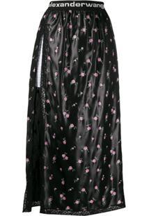 Alexander Wang Floral Shorts Skirt - Preto