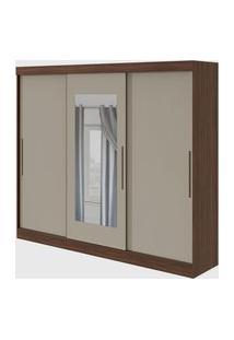 Guarda Roupa Casal C/ Espelho 3 Portas 4 Gavetas Montebello Imbuia Naturale/Off-White Móveis Lopas