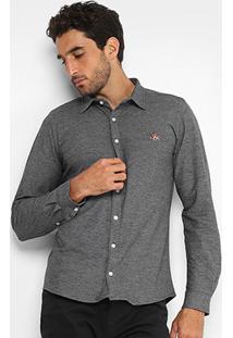 Camisa Rg 518 Bordado Malha Masculina - Masculino-Preto