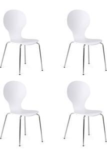 Conjunto Com 4 Cadeiras Formiga Branco