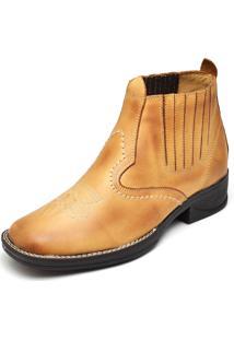 Bota Couro Dr Shoes Elástico Amarelo
