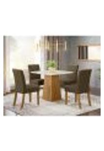 Mesa De Jantar Dora 90Cm 4 Cadeiras Vita - Nature/Off White/Marrom Claro