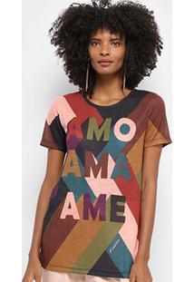 Camiseta Cantão Estampa Ame Feminina - Feminino-Marrom Escuro
