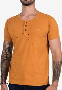Camiseta Henley Mostarda Destroyed 101903