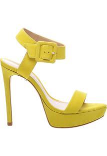Sandália Salto Meia Pata Nobuck Yellow   Schutz