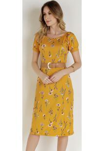 Vestido Floral Com Recortes Moda Evangélica