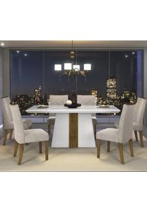 Mesa Tampo Chanfrado Vidro Branco 6 Cadeiras Branco Laca Demolição Suede Pena Bege D J Móveis