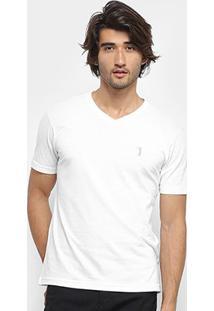 Camiseta Aleatory Bordado Masculina - Masculino-Branco