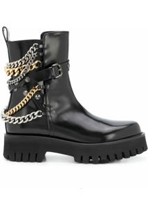 Casadei Chain Embellished Ankle Boots - Preto