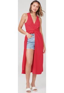 Vestido Midi Com Decote V E Fenda Frontal - Vermelho