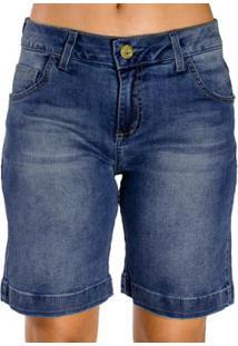 Bermuda Jeans Pespontos Destonada Detalhes Dourados Realist Feminina - Feminino-Azul