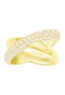 Anel Cross Crystaldust- Dourado- Tamanho: 52Swarovski