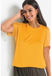 Blusa Mangas De Chiffon Amarelo
