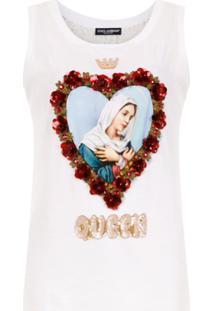 Dolce & Gabbana Blusa Com Bordado E Estampa - Branco