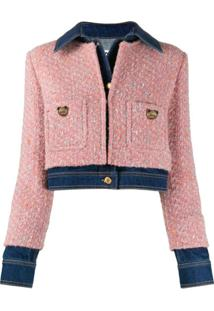 Moschino Tweed-Overlay Denim Jacket - Rosa