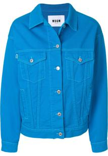 Msgm Jaqueta Jeans Com Patch - Azul