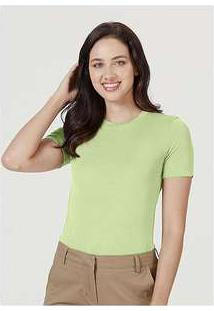 Blusa Básica Feminina Em Malha De Modal E Elastano Verde