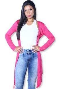 Cardigan Heide Ribeiro Alongado Soltinho Strass Super Leve Feminina - Feminino-Pink
