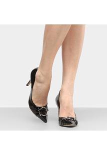 Scarpin Shoestock Salto Alto - Feminino-Preto